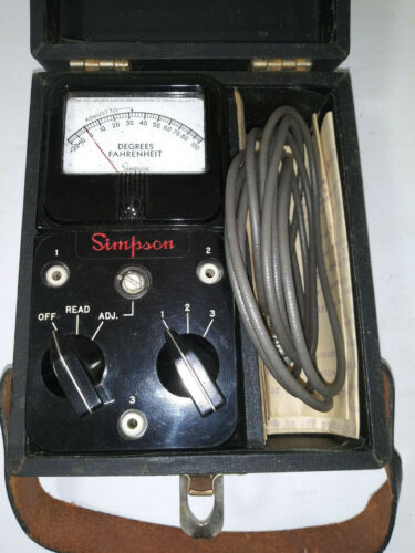 "SIMPSON ""385"" DEGREES FAHRENHEIT METER, WITH CASE, STRAP, LEADS & INSTRUCTIONS"
