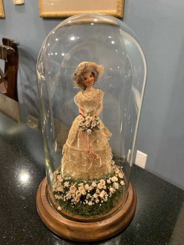 PEGGIE KILGORE BRIDE CORN HUSK DOLL In Glass Dome SIGNED 1985