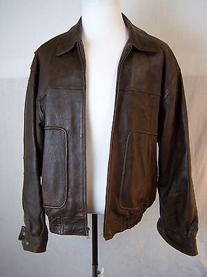 Vintage Spiegel Casual Full Zip Leather Motorcycle Jacket Men's Size L