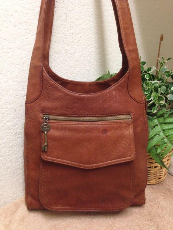 Fossil Vintage Brown Rugged Leather Large Shoulder Handbag Bag Key