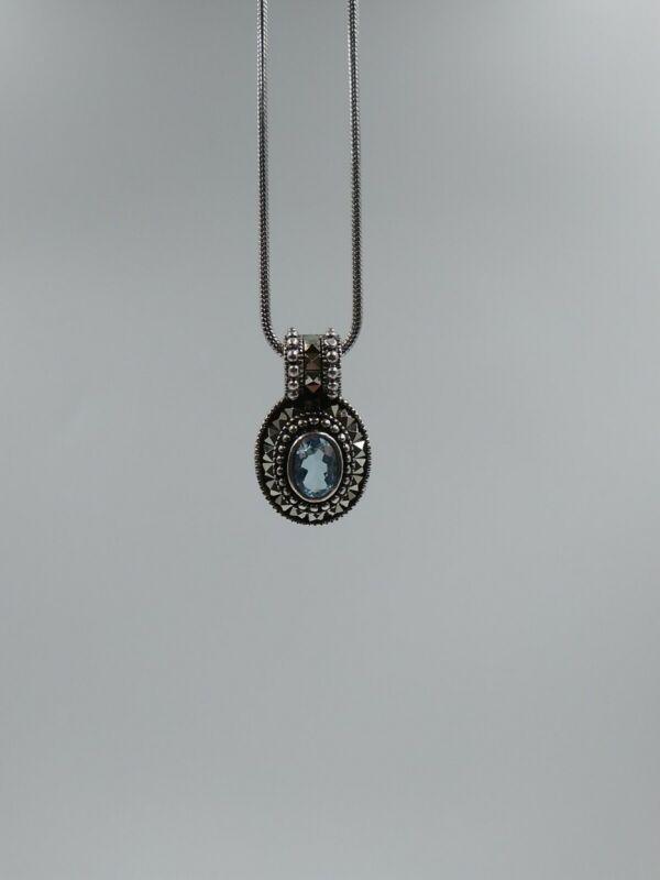 "Judith Jack Marcasite Aquamarine Necklace 7/8"" Pendant sterling silver"