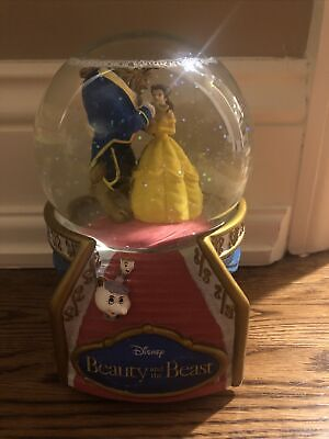 Beauty and the beast snow globe plays beauty and the beast