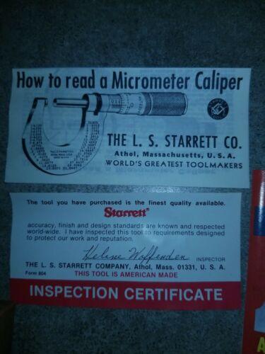 STARRETT T230RL MICROMETER OUTSIDE 0-1 BRAND NEW IN BOX. Opened Never Used. - $180.00