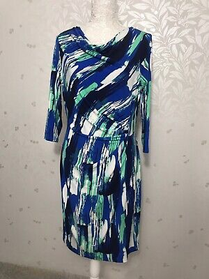 Jasper Conran Blue, White And Green Wrap Dress Size 14 Wedding Races Smart](Blue And Green Wedding)