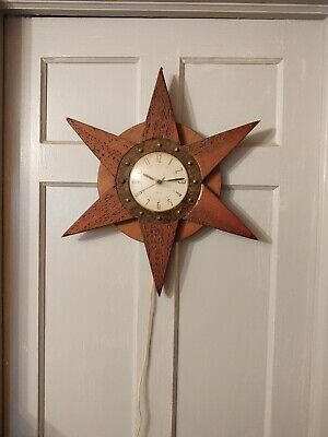Vintage Starburst Atomic Wall Clock Westclox Wood Mid Century Unique