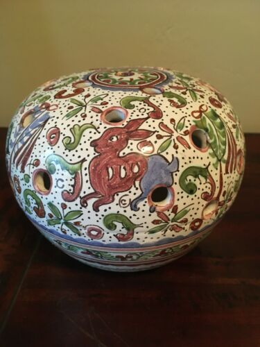 Portugal BERARDOS Tulipiere Flower Floral Frog Majolica Art Pottery Vase~Signed!