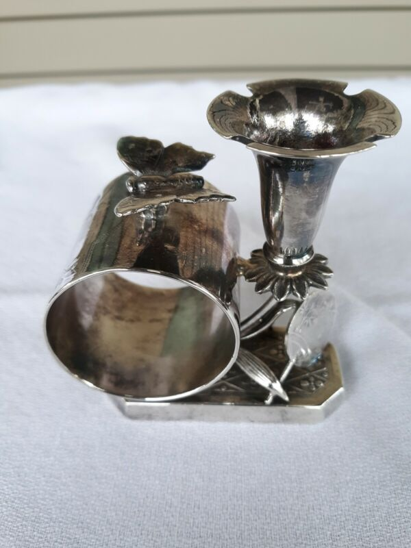 Antique Silver Plated Figural Napkin Ring Butterfly & Flower Simpson Hall Miller