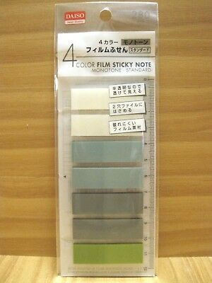 Film Sticky Notes & Plastic Ruler, Translucent Monotone 4 colors 280 counts,Memo