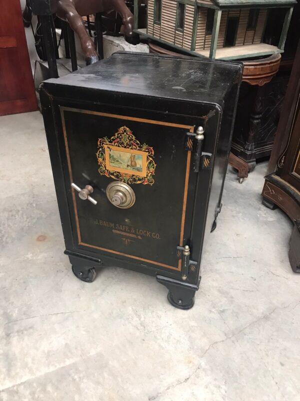 antique Baum Cincinnati Ohio Cast Iron Victorian Safe With Combo 30 In Tall