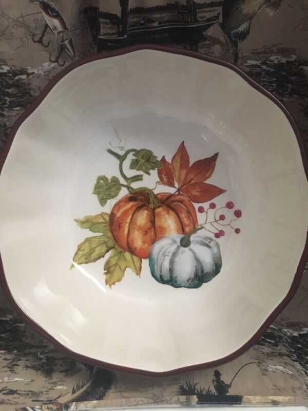 Modern Southern Home Earthenware Serving Bowl Pumpkin Autumn Fall Brown  NWT
