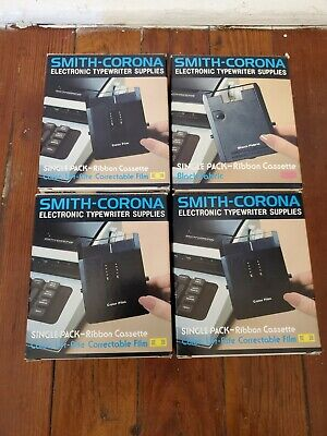 New Old Stock Smith Corona Ribbon Cassette 4 Pack Lot Black Red Blue Green
