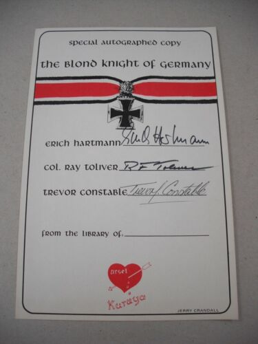 """SIGNED BY LUFTWAFFE ACE ERICH HARTMANN! BOOKPLATE FOR """"BLOND KNIGHT OF GERMANY""""!"""
