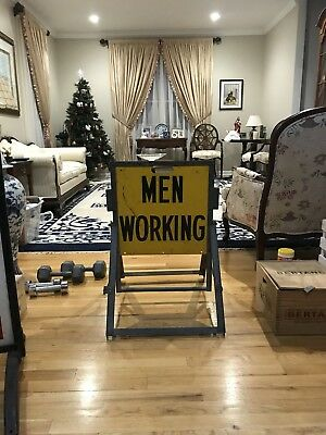 Vintage Men Working 2 Sided Foldable Metal Sign . Very Heavy