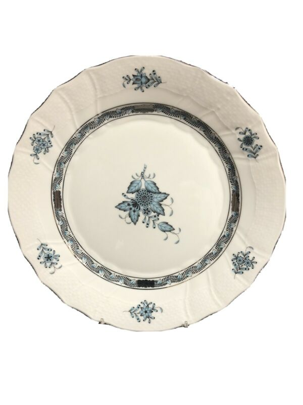 HEREND CHINESE BOUQUET TURQUOISE PLATINUM DINNER PLATE