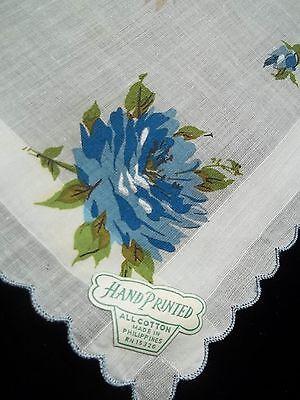Vintage Hand Printed Hankie Blue Roses Handkerchief Floral Print Hanky 120