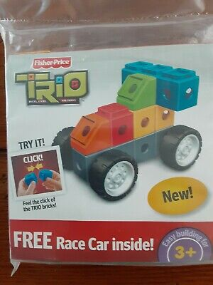 Fisher Price TRIO Race Car Building Blocks Bricks Toy NEW