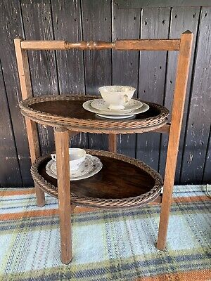 Vintage Oak Two Tier Stand With Two Oval Trays With Wicker Trim
