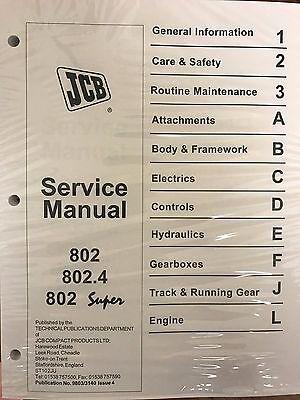 Jcb Service 802 802.4 802 Super Mini Excavator Manual