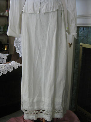 Antique Edwardian VICTORIAN off WHITE Handmade Lace Pintuck PETTICOAT SLIP s