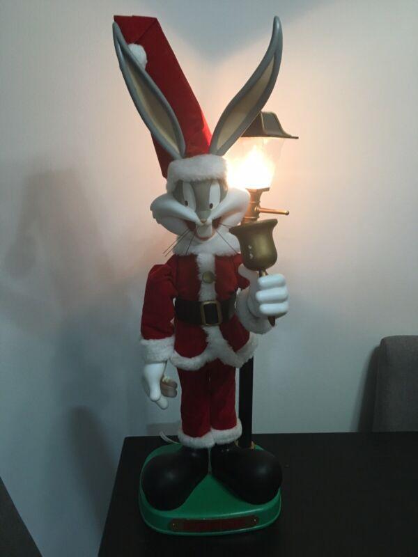 Looney Tunes Animated Christmas Bugs Bunny Santa Lamp Post Lights 1996 USED