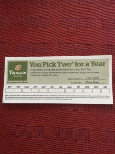 PANERA BREAD GIFT CARD PAPER U PICK TWO FOR A YEAR 12/31/22 Expiration