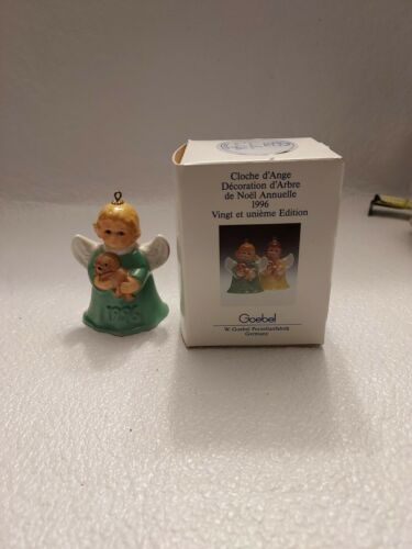 Goebel Angel Bell Green Gown Girl Dog Puppy Christmas Ornament 1996
