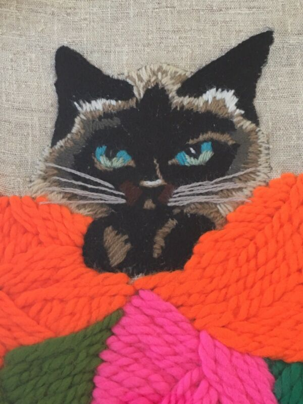 1970's Siamese Cat 21x17 Framed Completed Needlecraft Kitschy Mod Kitty MCM Wall