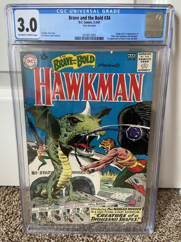 Brave and the Bold #34 CGC 3.0 DC Comics 1961 First Silver Age Hawkman Hawkgirl