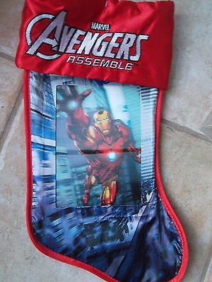 "Marvel Avengers Lenticular Iron Man 3D Holiday19"" Christmas Stocking NWT"