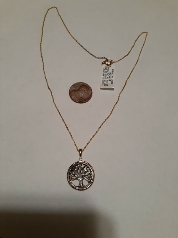 $125 NWT Gold Over Sterling Silver Tree Of Life MOP Diamond Pendant Necklace...