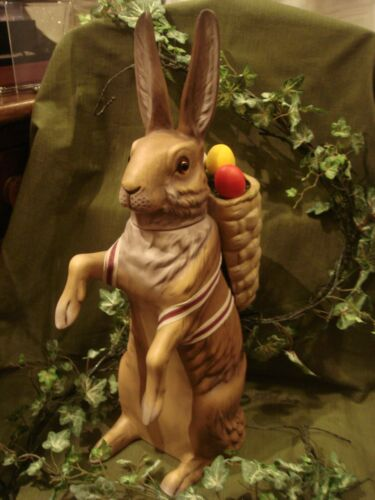 Marolin Paper Mache Easter Bunny Candy Container Brown w/Basket Large Size