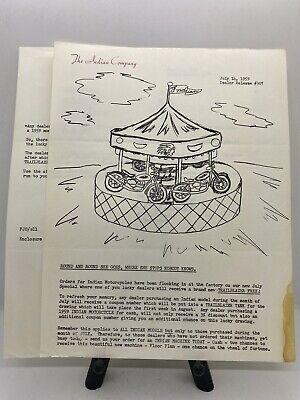 Original Vintage Rare 1959 Indian Motorcycle Co. Dealer Release Letter #307