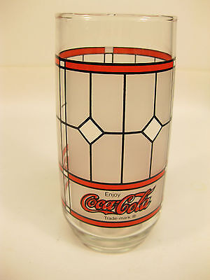 Coca-Cola Stain Glass Look Tiffany Frosted Drinking Glass Libby