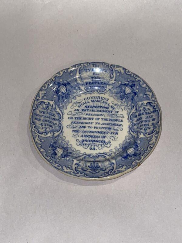 Historical Staffordshire Cup Plate Love Joy Tyrants Foe Constitution Circa 1835