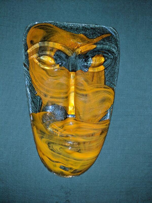 "Mid Century 11"" Gabriel och Rodolfo Lio Jaramillo Orange Vintage Art Glass Face"