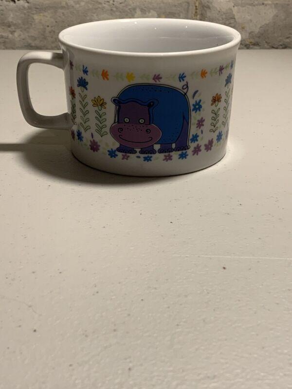 Vintage 1976 Saltera Himark Japan Jungle Safari coffee cup soup mug Hippo! Rare!