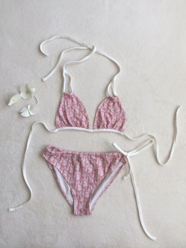 VINTAGE Christian Dior Trotter Swimwear Swimsuit White Pink
