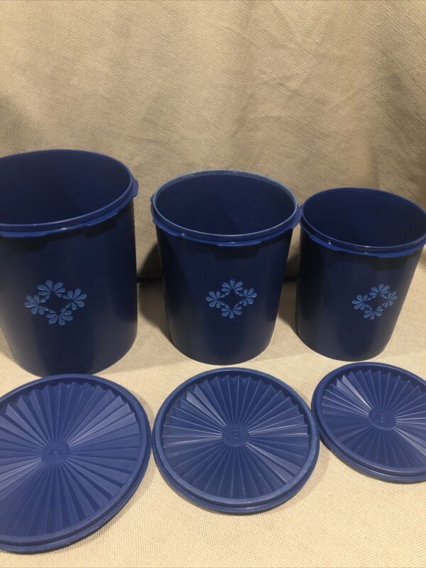 Vintage Tupperware Canisters Set of 3 Blueberry Blue Nesting with Seals Retro