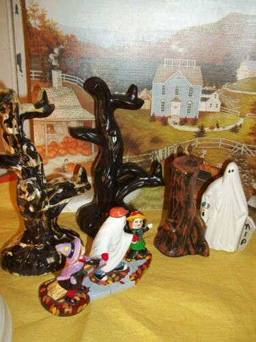 5 VTG HALLOWEEN CERAMIC DECORATIONS TOMBSTONE GHOST HAUNTED TREES MASKED KIDS