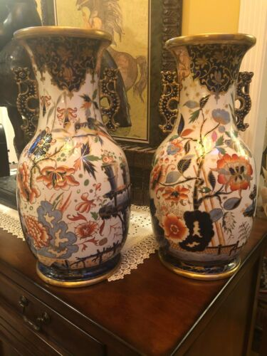 Large Pair 19th Century Imari Porcelain Floor Vases Hand painted with Gold Trim
