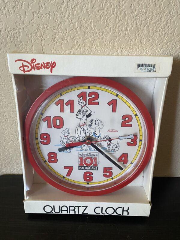 "NEW 1991 Vintage 101 Dalmatians 8.5"" Wall Clock Walt Disney Sunbeam"