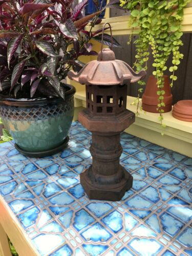 Large Cast Iron Lantern - Pagoda Lantern - Removable Roof - Lots of Character!