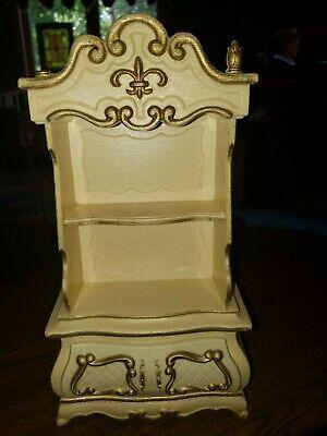 Vintage Suzy Goose Barbie Hutch Furniture Dresser Drawer White Cream Gold Doll