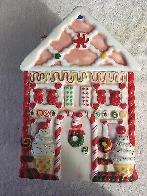"Ceramic Gingerbread House Cookie Jar Vintage Christmas Style 10"" x 7"" x 5"""