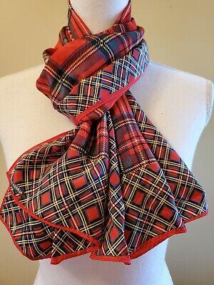 Vintage Scarf Styles -1920s to 1960s Albert Nipon Vintage Red Plaid Silk Scarf $15.00 AT vintagedancer.com