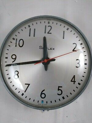 """Vintage Simplex 13"""" Round Wall Electric Clock Glass Industrial School Works E2"""