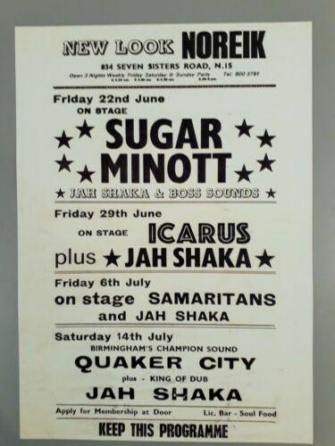 Reggae & Ska promo concert poster - Sugar Minott & Jah Shaka 1979 A3 reprint