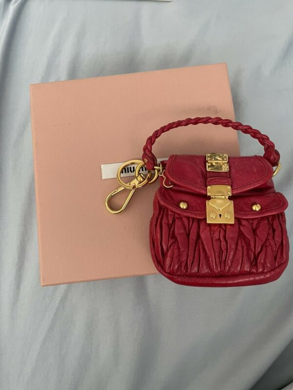 Mini Miu Miu Matelasse Coffer Keychain Red Nappa Leather