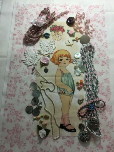 VINTAGE Antique Sewing BABY PINK Buttons Lace Rose Lot Trims Rhinestones DOLLS