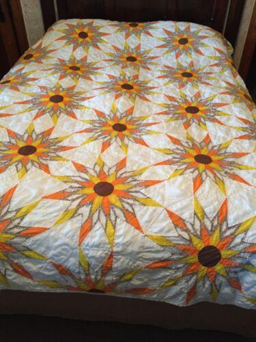 Quilt Cutter Sunflower Starburst Sun Brown Orange White Cotton Handmade Hand Qui